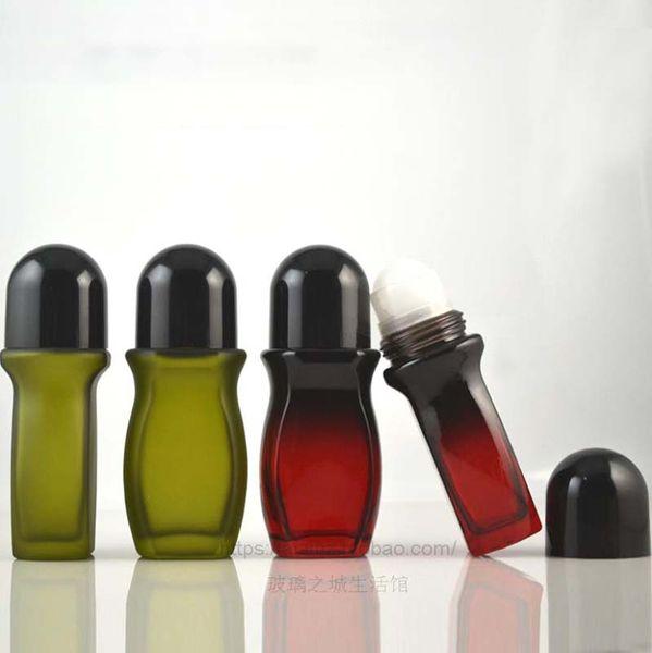 Heat Pain Roll Body Massage 50ML Olive Green/Red Black Gradual Change Glass Tumbling Pain Bottle Fragrant Body Dew Bead Bottle