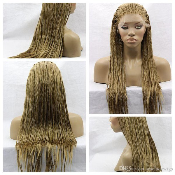 Charming 8# Blonde Braids Wigs with Baby Hair Cheap Braiding hair Heat Resistant Braided Glueless Synthetic Lace Front Wigs for Black Women