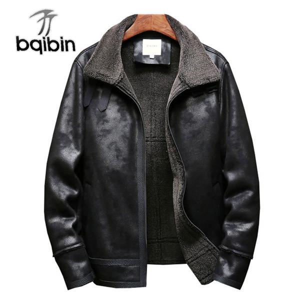 2018 nuovi uomini in pelle giacca invernale calda pelle scamosciata outwear cappotto vintage faux fur alta qualità M-5XL over size