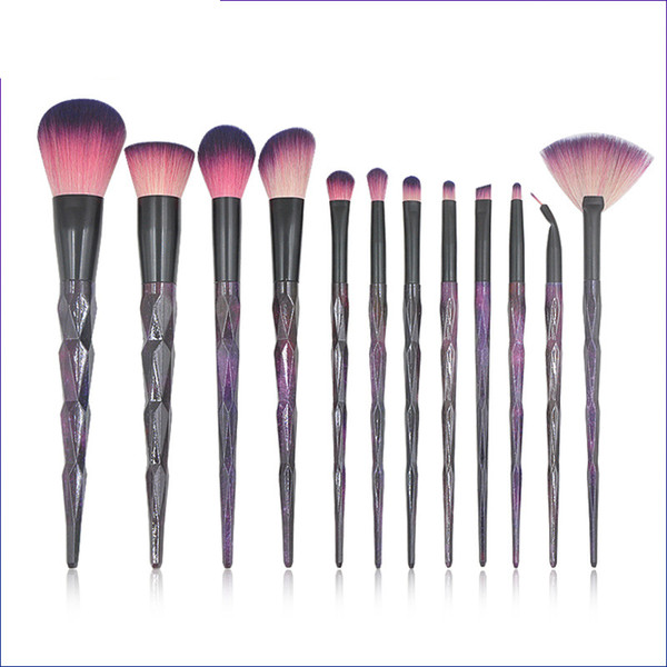 gemtotal makeup brushes set 12-pieces foundation concealer contour blush lip eyeshadow eyebrow synthetic hair(black-purble) ing