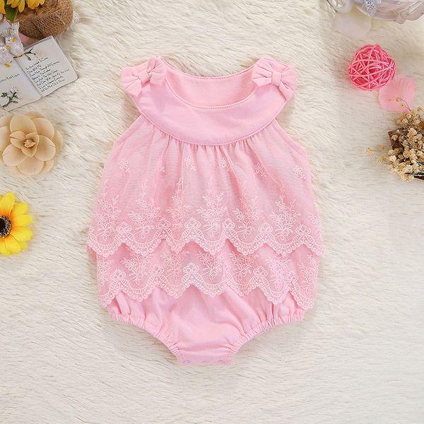 2018 summer prince tutu pink girls dresses cotton summer children clothing Sleeveless baby clothes newborn bodysuit baby rompers girl