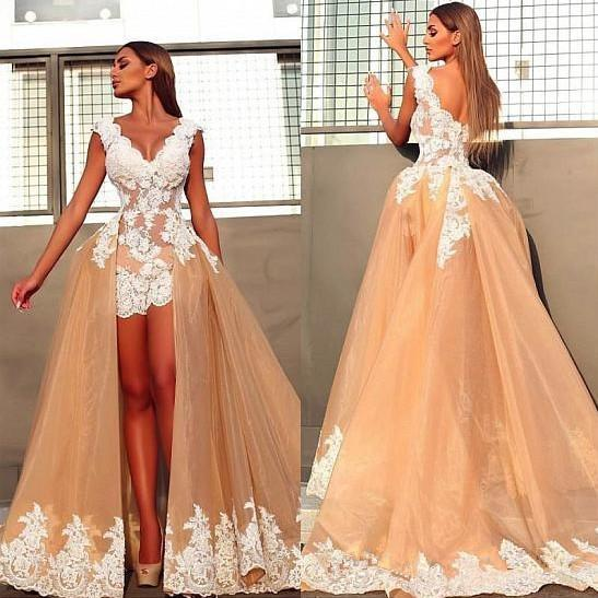 Removable Skirt Two Pieces Wedding Dresses V Neck Cap Sleeve Handmade Appliques Lace Champagne Tulle Bridal Gowns Custom Made