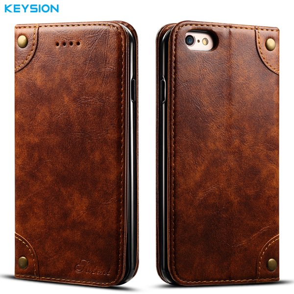 Keysion Vintage Pu Leather Case For Iphone 6 6s Plus Flip Case Wallet Card Slots Soft Tpu Kickstand Back Cover For Iphone6plus