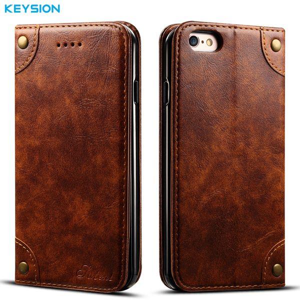 Keysion Vintage Pu Deri Kılıf Iphone 6 6 s Artı Flip Case Cüzdan Kart Yuvaları Iphone6plus Için Yumuşak Tpu Kickstand Arka Kapak
