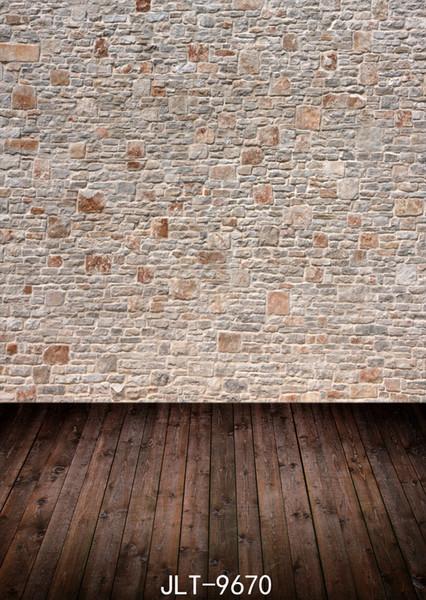 Light Brown Brick Wall Wooden Floor Wedding Children Vinyl Photography Backdrop Custom Photo Prop Backgrounds 5X7ft
