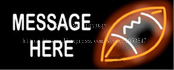 """Custom Message Football Game NEON SIGN REAL GLASS BEER BAR PUB LIGHT SIGNS store display Bulbs Desserts Pastries Lights 19*15"""""""