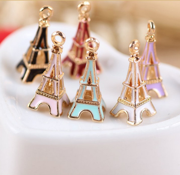 10*24 mm style accessories KC gold enamel Eiffel tower charms alloy small bracelet France Paris French pendant metal dangle jewelry making