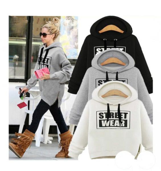 S-XXL warm letters fleece pullover lady sweater zipper hoodie tops sweater Girls fashion strteet wear coat