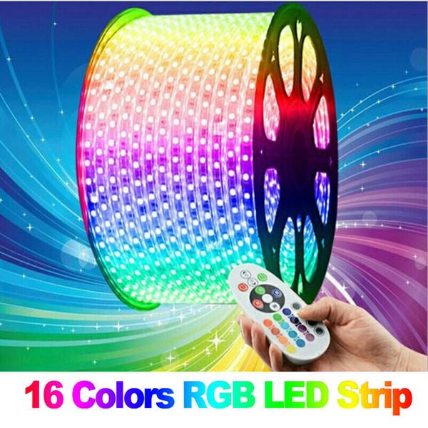 5050 RGB Led şerit ışık 110 V 220 V 60led / M IP65 Su Geçirmez Led Verlichting Neon Işık 110 V 220 V + Güç Kaynağı + IR Uzaktan Kumanda