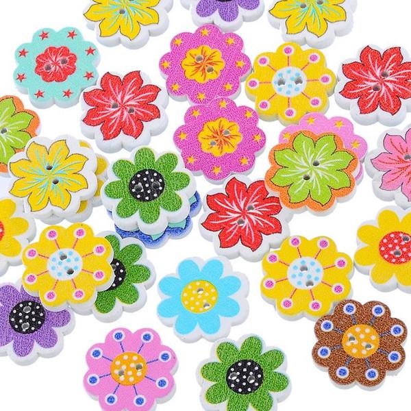 50 Adet Toptan Doğal Ahşap Düğmeler Renkli Karışık Çiçekler Dalga Kenar Karalama Defteri Dikiş Aksesuarları DIY Craft 2 Delik 20x19mm