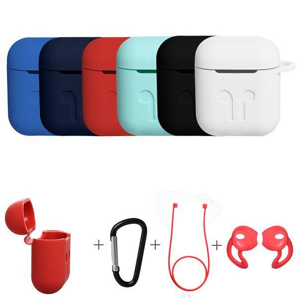 Apple Airpods Için 4 in 1 Takım Koruyucu Silikon Kılıf Kılıfı Anti-kayıp Toz Fiş Tel Kulaklık Başlıkları iPhone 7 Için Bluetooth kulaklık kılıfı kitleri