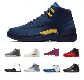 Acheter Nike Air Jordan 12 2018 Michigan Hommes Basketball Chaussures AJ12 Rose Lemonade Bordeaux Gris Foncé Grippe Jeu 12s Hommes Femmes Baskets