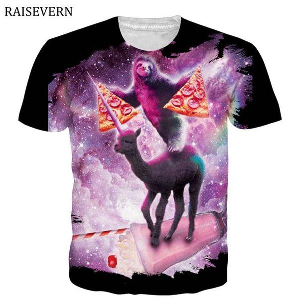 RAISEVERN Sloth Pizza Space Galaxy 3D T Shirt Men Women Short Sleeve O Neck Summer Tops Tee Shirt Homme Plus Size Tshirts 3XL