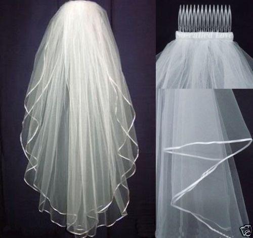 Velo da Sposa Nozze Raso Bordo Con Pettine Gomito elegante Cattedrale Bianco Avorio 2t