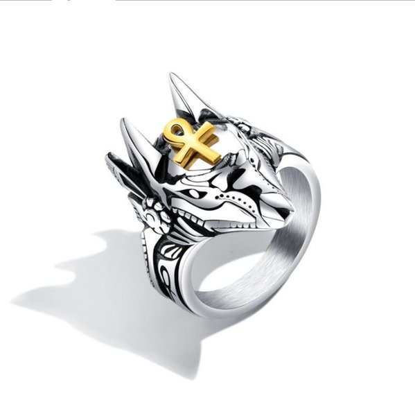 Wholesale Punk Two Tones Anubis Egyptian Cross Finger Ring titanium Steel Ring for men size 7-12