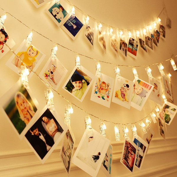 20/2.2M LED Photo Clips String Lights Christmas Fairy String Lights for Hanging Photos Pictures Cards and Memos for Bedroom Decoration