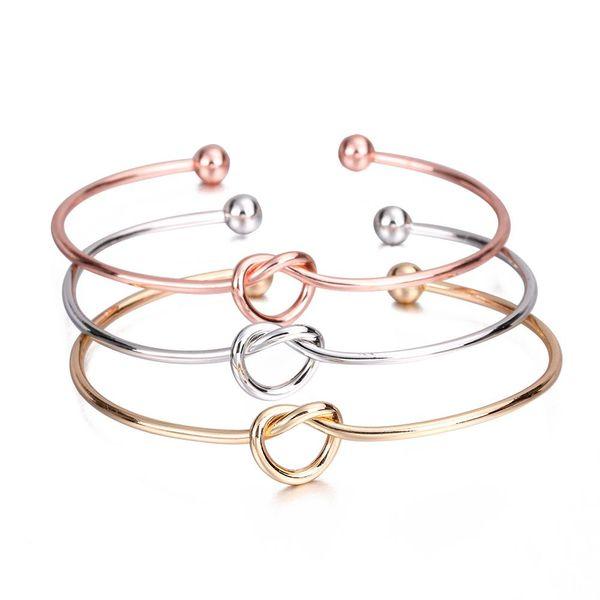 Big Promotion Simple Twist Cuff Brazaletes abiertos 4 colores para opciones Metal Tie Knot heart Bracelet Bangle jewelry NE886
