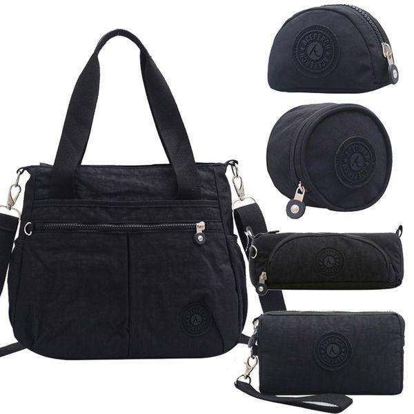 ACEPERCH Bolso Femenino Bolsos de Lujo Mujer Diseñador Bolsa Feminina Sólido Nylon Impermeable Mensajero Bolsa de Playa Negro Sac A Principal