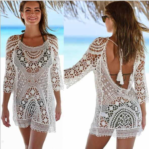 top popular 2020 White Knit Crochet Tunic Beach Cover up Women Swimwear Sexy See Though Open Back Mesh Summer Beach Wear Mini Dress Sarong Dress 2020