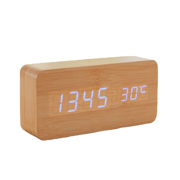 Wooden Digital LED Alarm Clock LED Display Electronic Desktop Digital Table Clocks Wooden Alarm Clock 1pcs