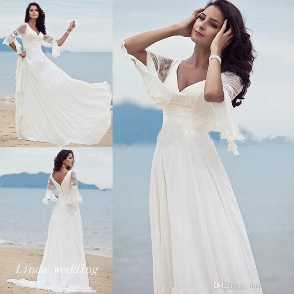 High Quality Wedding Guest Dresses A Line V Neck Floor Length Long Backless Chiffon Lace Women Wear Bridal Party Gowns