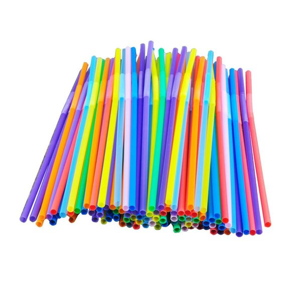 100Pcs Colorful Straws Flexional Plastic Disposable Drinking Straws Birthday Wedding Decor Mixed Colors Party Event Supplies
