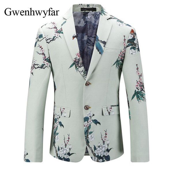 2018 Hot Men's Slim Fit Suit Blazer Prom Dress Printed Plum Blossom Tuxedo Jacket Gentlemen Style Modern Blazer For Men XS-3XL