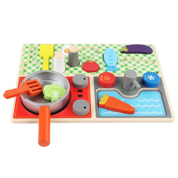 Kids Pretend Kitchen Toys Play Set Utensils Cooking Pots Children Pans Set Gas Stove Pot Fruit