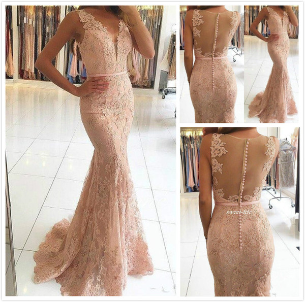 best selling Sexy V-Neck Evening Dresses Wear Illusion Lace Appliques Beaded Blush Pink Mermaid Long Sheer Back 2018 New Formal Party Dress Prom Gowns