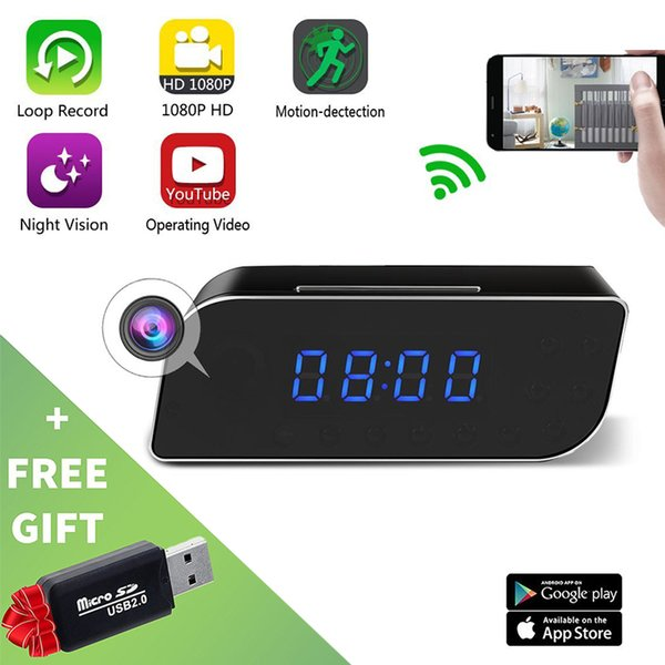 HD 1080P WiFi Cameras Mini DV Alarm Desk Clock Camera DVR Camera For Home Security Nanny IP Cameras Cam Wireless Mini Camera