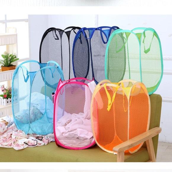 Foldable Mesh Laundry Basket Clothes Storage supplies Pop Up Washing Clothes Laundry Basket Bin Hamper Mesh Storage Bag wn457 50pc