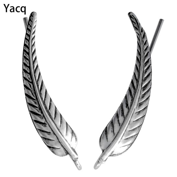 YACQ 925 Sterling Silver Leaves Ear Cuff Clip Earrings Birthday Party Jewelry Gifts for Women Girlfriend Her Dropshipping CE72A