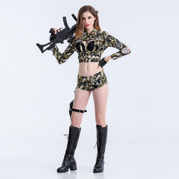 2018 Sexy Nightclub Bar Party Camouflage Field Suit DS Costume Female Officer Cosplay DJ Singer Costume Outfit Split Type 8501#