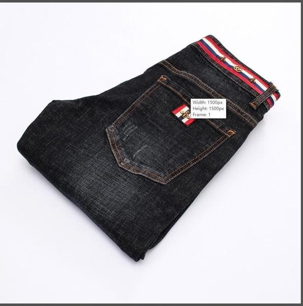 Hommes de haute qualité Black Designer Jeans Slim Feet Jeans Micro-élastique Homme 8922