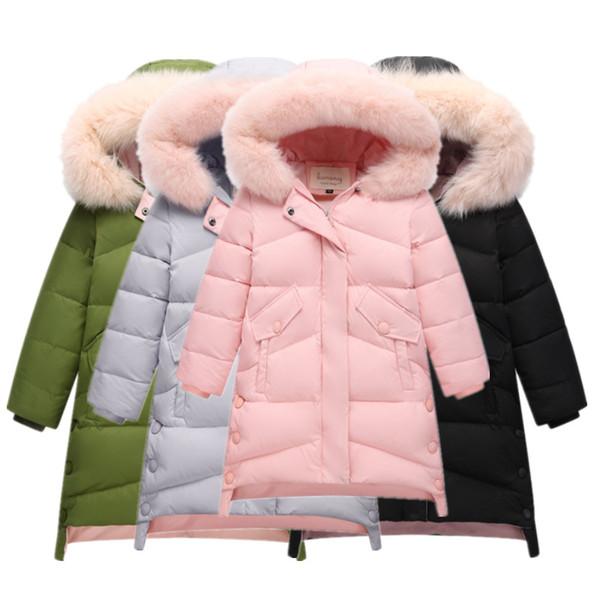 2018 Rusa -30 Chica de invierno Chaqueta de pato para niños Cuello de piel engrosada Con capucha de Down Parkas Girls Cálida ropa de padres e hijos