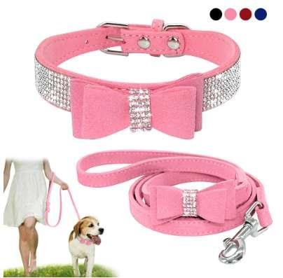 Soft Seude Leather Puppy Dog Collar and Leash Set Bling Rhinestone Bowknot Small Medium Dogs Cat Collars Walking Rope Pink