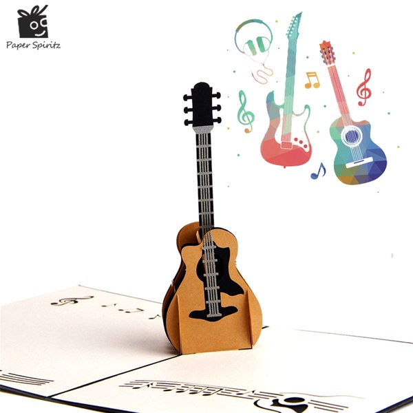 3D Vintage Cards Guitar Postcards Happy Birthday Greeting Cards Thank You Cards for Lover Teacher
