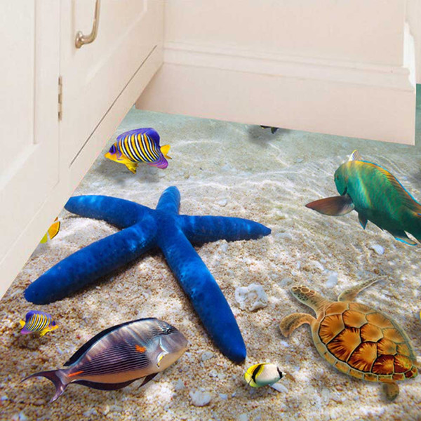 New Creative 3D Wall Stickers Starfish Footprint Beach Bathroom Office Home Floor Wall Sticker Removable Mural Decals