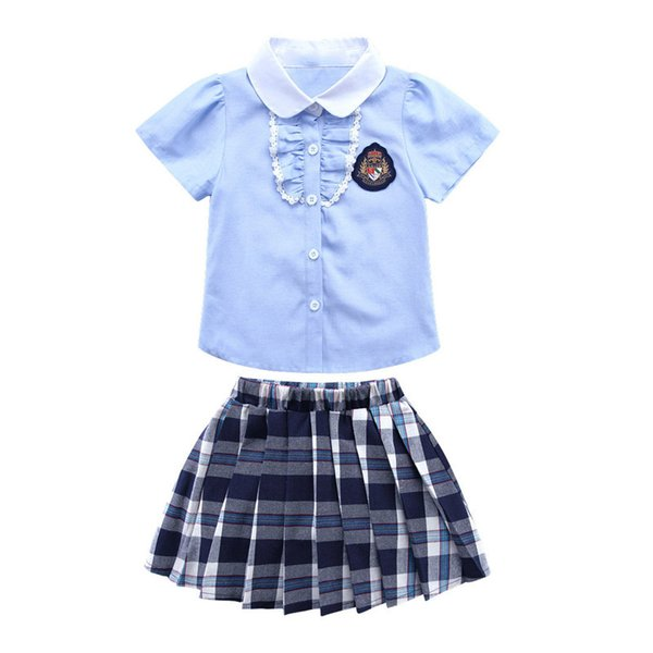2018 girls garden clothing new Korean version of the class service girls casual sports costumes college suit skirt short sleeve