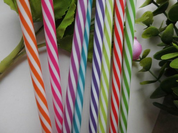 Wholesale-Hot Sale Reusable Biodegradable Distored Color Beverage plastic Striped drinking Straws(100pcs/lot)