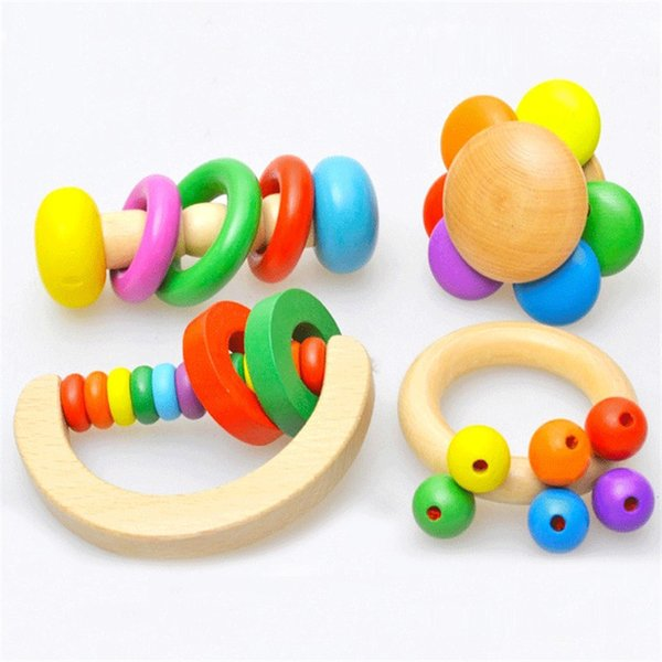Newborn Baby Rattles Wooden Hand Bell Flower Shape Ring Hand Shape Infants Baby Instruments Early Educational Musical Toys
