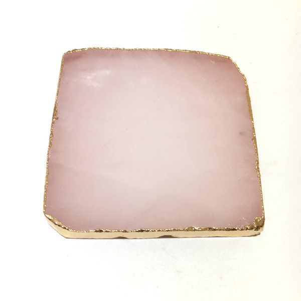 Wholesale 1pcs Natural Rose Quartz Coaster Square Crystal Platter Electroplated Gold Color Jewelry for Cup Mat Display