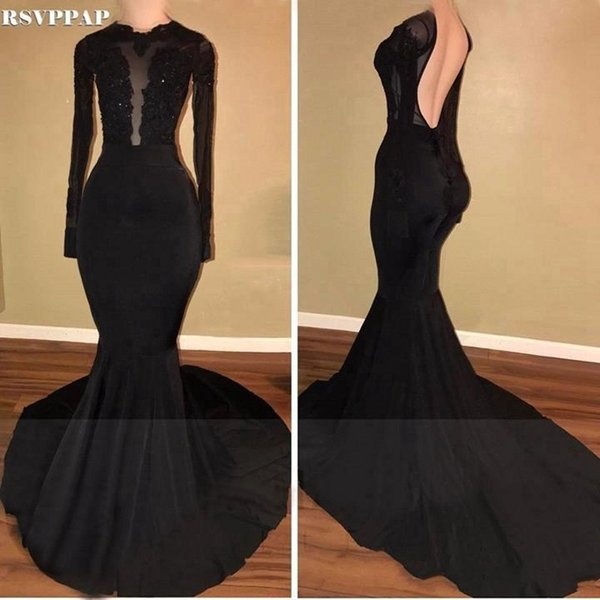 Sexy Black Mermaid Prom Dresses 2018 Sheer Long Sleeves Applique Lace Floor Length Backless African Stretch Satin Evening Gowns Dress BA8054
