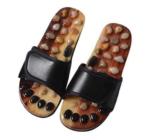 Zapatillas de Masaje de pies Hombres Cuidado de la Salud Sandalias de Piedras de Piedras Masculinas Reflexología Pies Ancianos Acupuntura Masajeador Zapatos