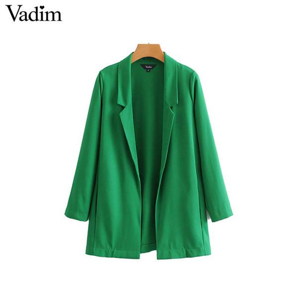 Vadim women elegant solid blazer Notched collar long sleeve coat female casual outerwear casaco feminine tops CA073 L18101303
