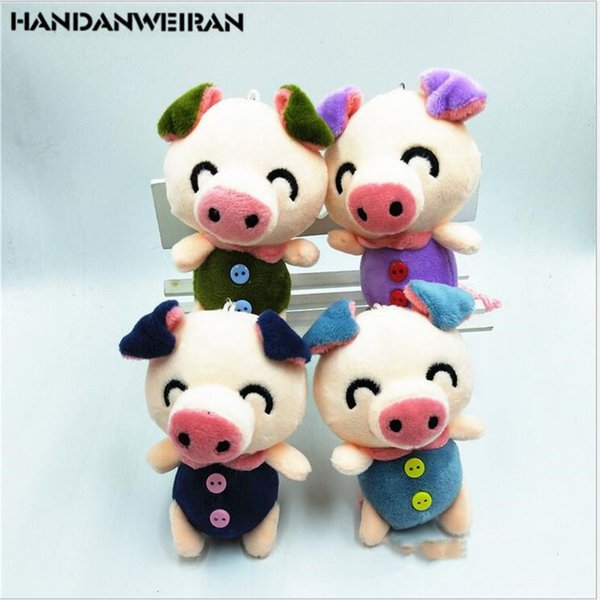 1PCS Cute mini plush toys pig baby keychain blinking pendant dolls stuffed animal wedding gift christmas toy for boy&girl 10CM
