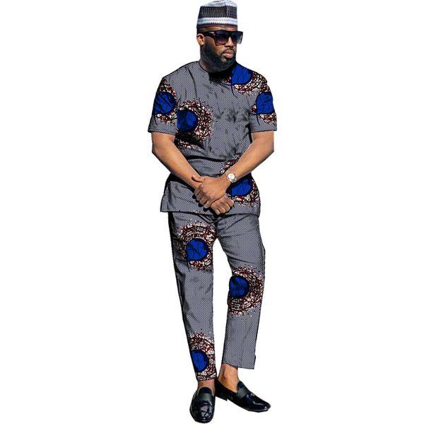 Ropa de impresión africana de moda Conjunto de hombres Tops + Pantalones Conjuntos Ropa Traje festivo de baile Hombres de África personalizados