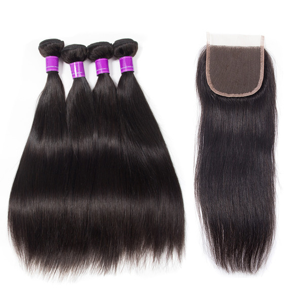 4 Bundles With Lace Closure 5pcs/lot Mink Brazilian Straight Jet/Natural Black Color Hair Bundles With Closure virgin straight Hair Bundles
