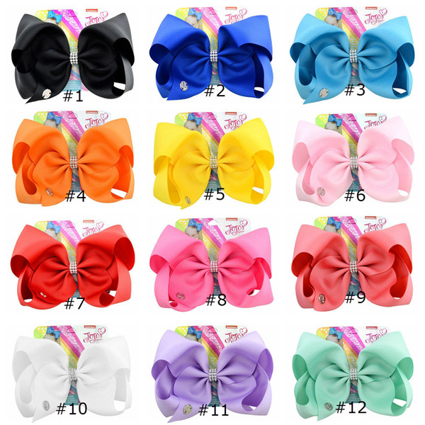 best selling 8 Inch Jojo Siwa Hair Bow Solid Color With Clips Papercard Metal Logo Girls Giant Rainbow Rhinestone Hair Accessories Hairpin hairband INS