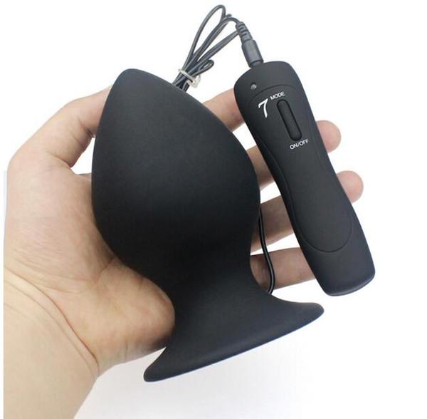 Super Big Size 7 Mode Vibrating Silicone Butt Plug Large Anal Vibrator Huge Anal Plug Unisex Erotic Toys Sex Products L XL XXL